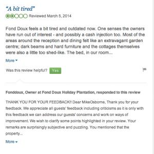 Respond to reviews says freelance travel copywriter