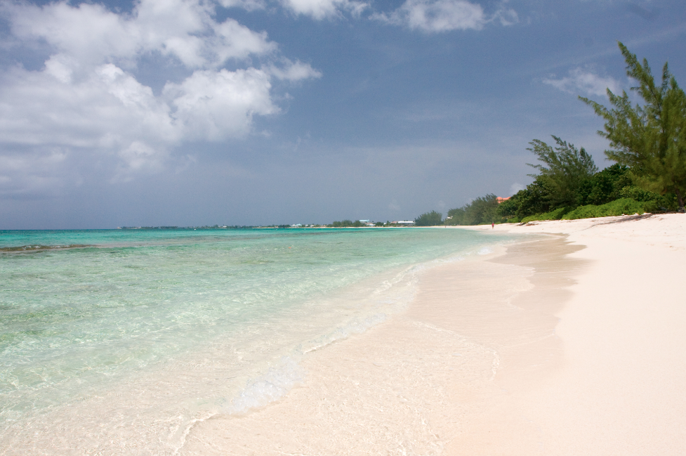 Seven Mile Beach where this freelance travel copywriter would like to be