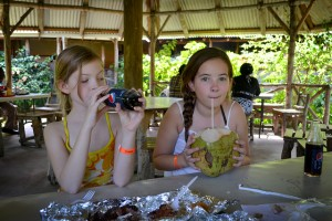 Washing down delish Scotchies fare with fresh coconut water