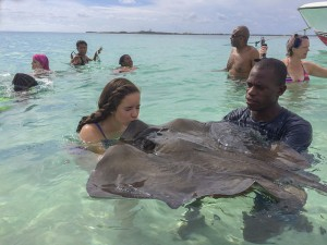 Up close and personal with the stingrays!